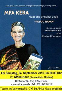 mfa kera liest am 24. September im Afrikahaus